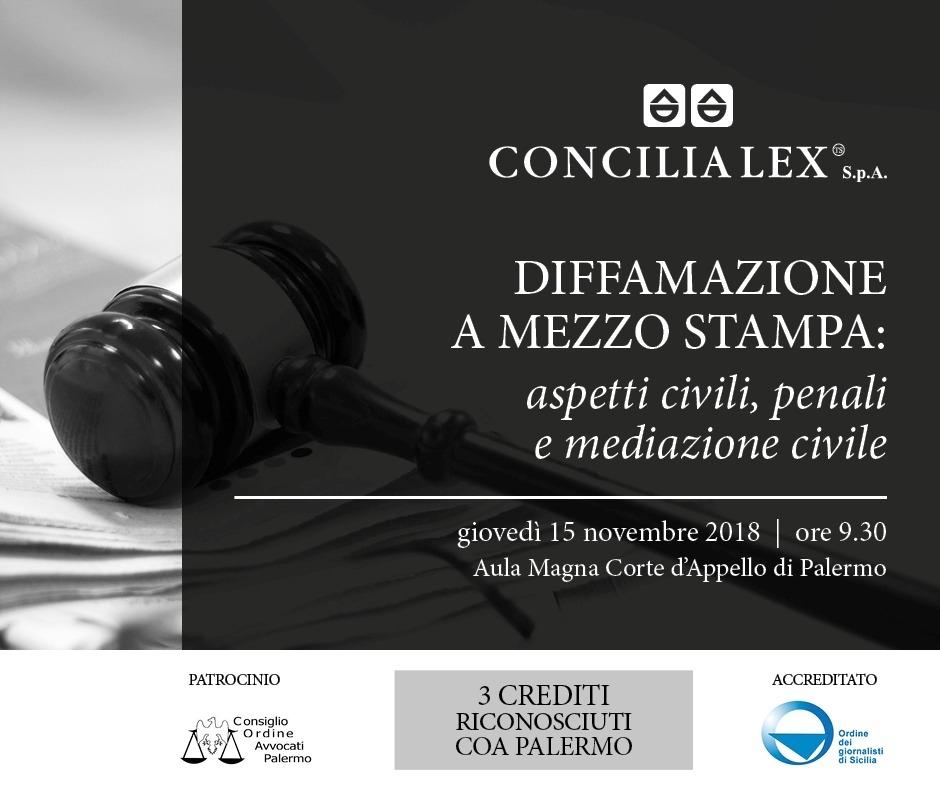 Mediazione e diffamazione a mezzo stampa: il 15 novembre se ne parlerà alla Corte d'Appello di Palermo