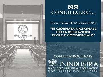 La III Giornata Nazionale della Mediazione Civile e Commerciale sarà patrocinata da Unindustria, l'Associazione territoriale del sistema Confindustria in Lazio