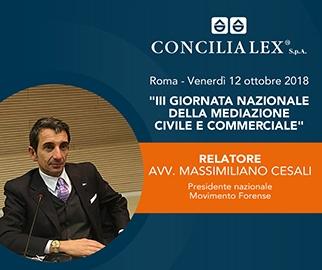 L'avv. Massimiliano Cesali, presidente di Movimento Forense, alla Terza Giornata Nazionale della Mediazione Civile e Commerciale
