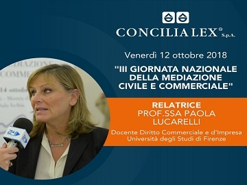 La professoressa Paola Lucarelli tra i relatori della III Giornata Nazionale della Mediazione Civile e Commerciale