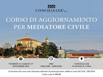 Udine, nei giorni 16 e 17 novembre si terrà il corso per mediatori civili e commerciali