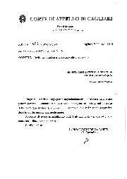 Nota di ringraziamento del Presidente della Corte di Appello di Cagliari