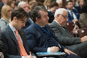 Il presidente Ferrara seduto accanto a Pietro Elia